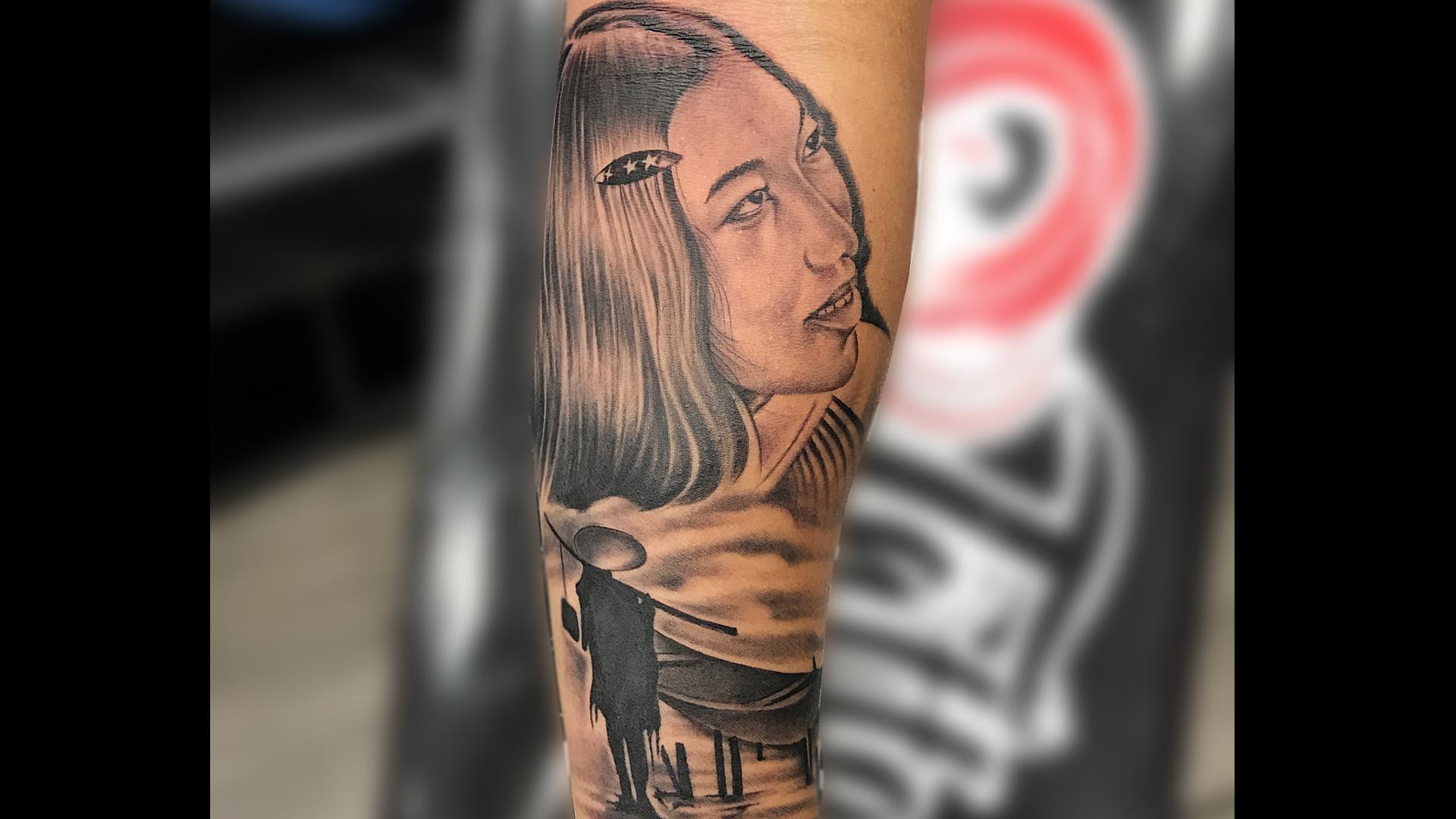 Q Tattoo in Huntington Beach - Quan - realism woman portrait