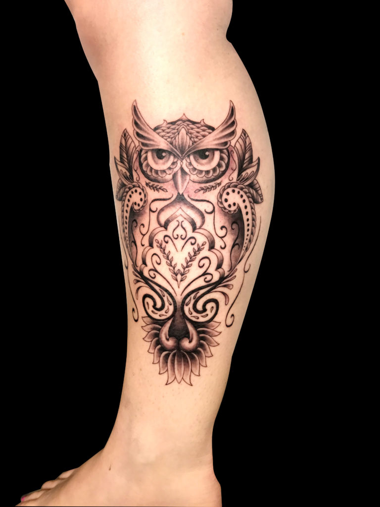 Q Tattoo in Huntington Beach - Sara Delara - owl